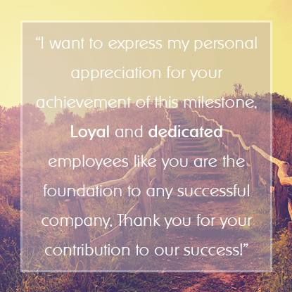 Sample Employee Appreciation Messages for Years of Service ...